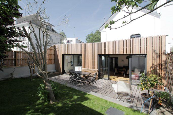 Autour du patio, extension d'une maison à Lorient